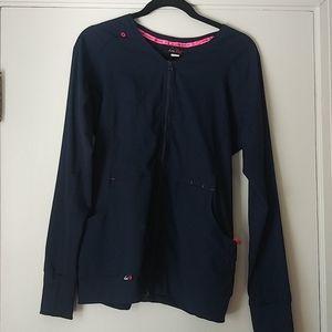 Koi Lite Zip Up Lab Coat Navy Blue sz M